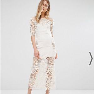 For love & lemons gracey ivory crochet midi dress